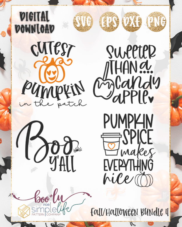 Fall Halloween Bundle 4 cut files for Cricut Silhouette Brother SVG PNG EPS DXF