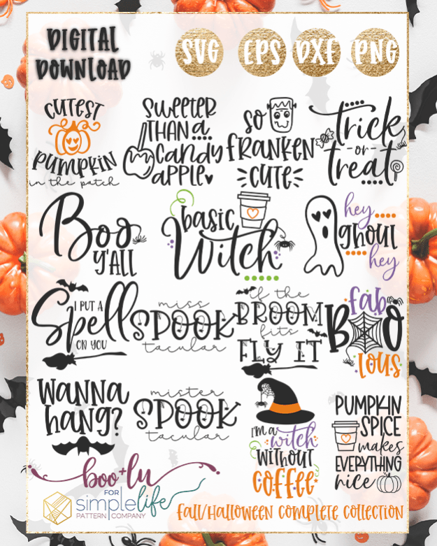 Fall Halloween Complete Collection cut files for Cricut Silhouette Brother SVG PNG EPS DXF