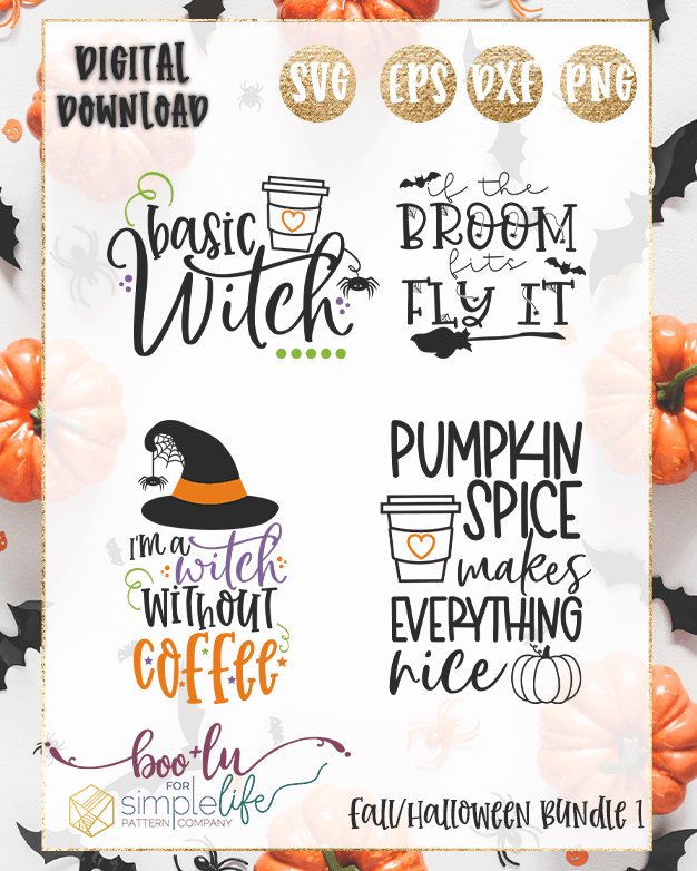 Fall Halloween cut files for Cricut Silhouette Brother SVG PNG EPS DXF