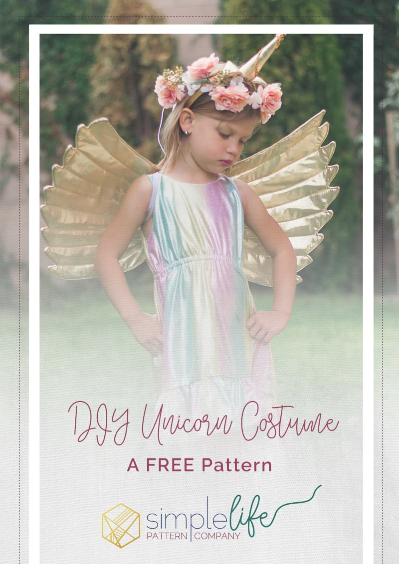 Simple Life Pattern Company | DIY Unicorn Costume For BERNINA Free Pattern Tutorial on how to create your own Unicorn Wings and Horn. Dress used is SLPco Harmony