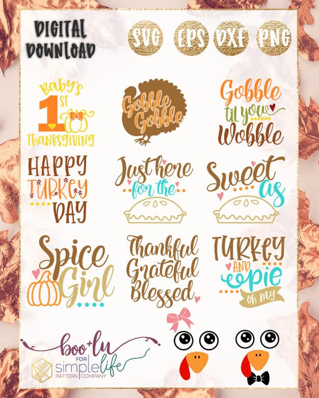 Thanksgiving Complete Collection Cut File | The Simple Life Pattern Company | Boo + Lu