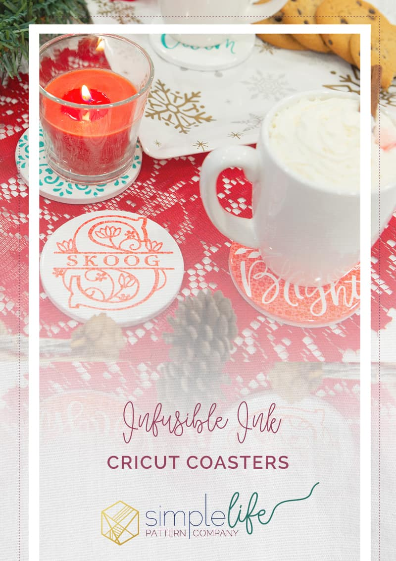 Cricut infusible ink coasters holiday christmas hostess gift candle gift basket monogram last name gift ideas candle plate holder protect counters furniture coaster diy handmade easypress 2 easy press fast and quick projects