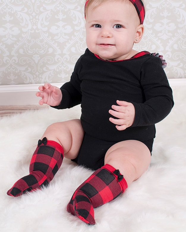 Simple Life Pattern Company | Baby Sloane's Knee High Socks. Downloadable PDF Sewing Pattern for Baby Sizes Newborn to 24 Months. Sloane's Knee High Socks will keep your littles warm all winter long.  Choose from ankle, crew or knew high length.  Sloane is a fun way to use up all of those knit fabric scraps you have lying around.  Perfect for the whole family.