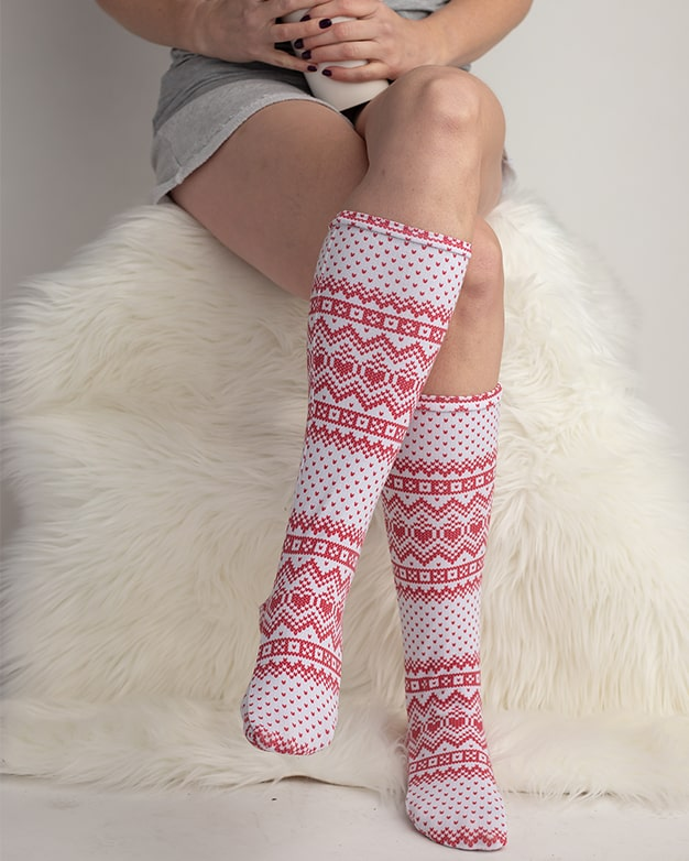 Simple Life Pattern Company | Adult Sloane's Knee High Socks. Downloadable PDF Sewing Pattern for Adult Sizes XS-XL. Sloane's Knee High Socks will keep your littles warm all winter long.  Choose from ankle, crew or knew high length.  Sloane is a fun way to use up all of those knit fabric scraps you have lying around.  Perfect for the whole family.