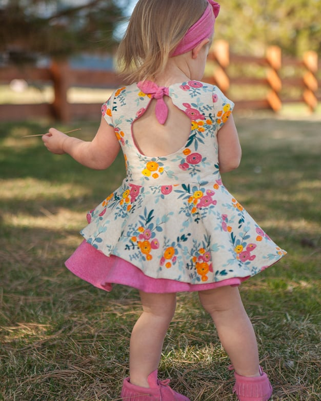 Simple Life Pattern Co. | Baby Ella's Knit Asymmetrical Top & Dress. Downloadable PDF Sewing Pattern for Babies Size Newborn to 24 Months.