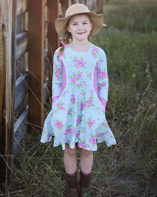 Simple Life Pattern Company| Zoe's Knit Princess Seam Top & Dress. Downloadable PDF Sewing Pattern for Toddler and Girl Sizes 2T to 12.