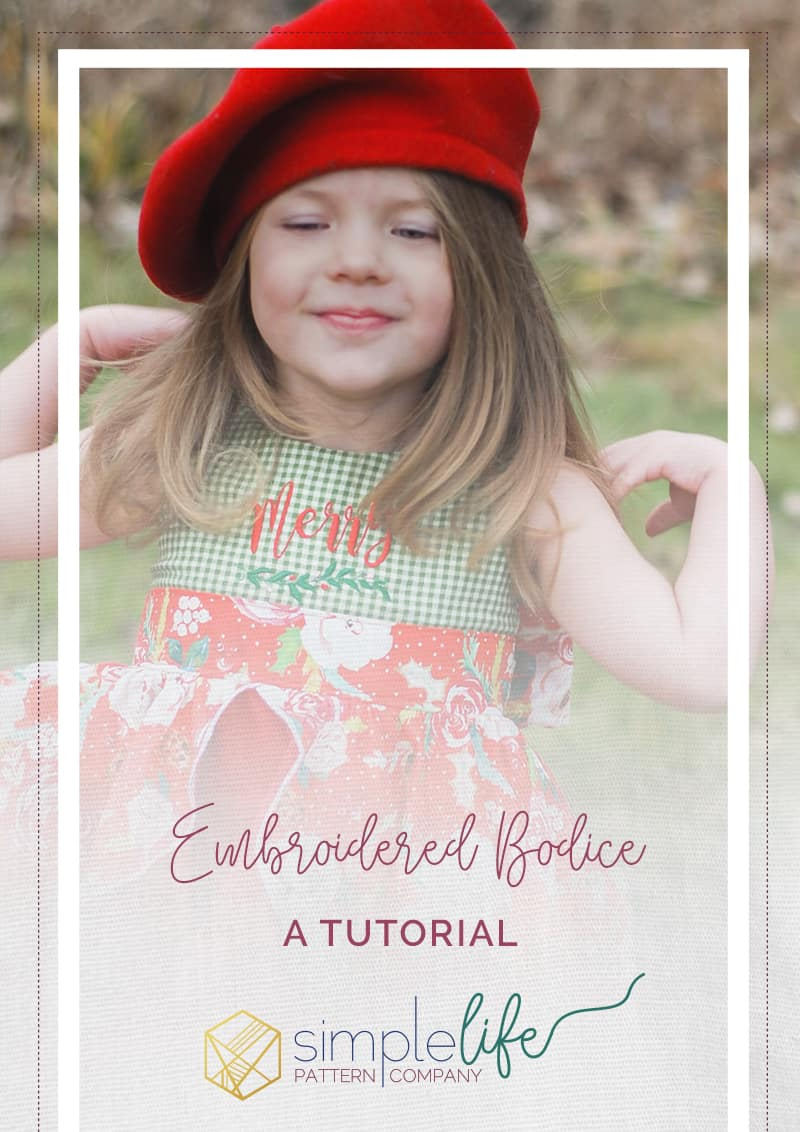 Simple life pattern company fast easy downloadable pdf sewing patterns for beginners to advanced Molly embroidered bodice with big bow ties for special occasion holidays and christmas with kinley flounce cascading skirt